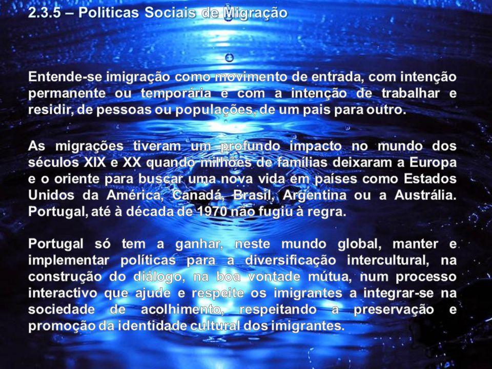 2.3.5 – Politicas Sociais de Migração