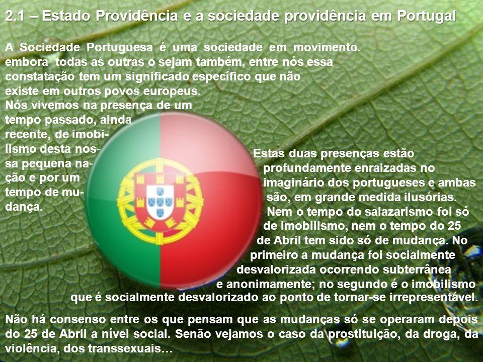 2.1 – Estado Providência e a sociedade providência em Portugal