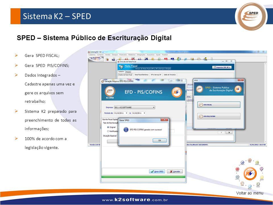 Sistema K2 – SPED SPED – Sistema Público de Escrituração Digital