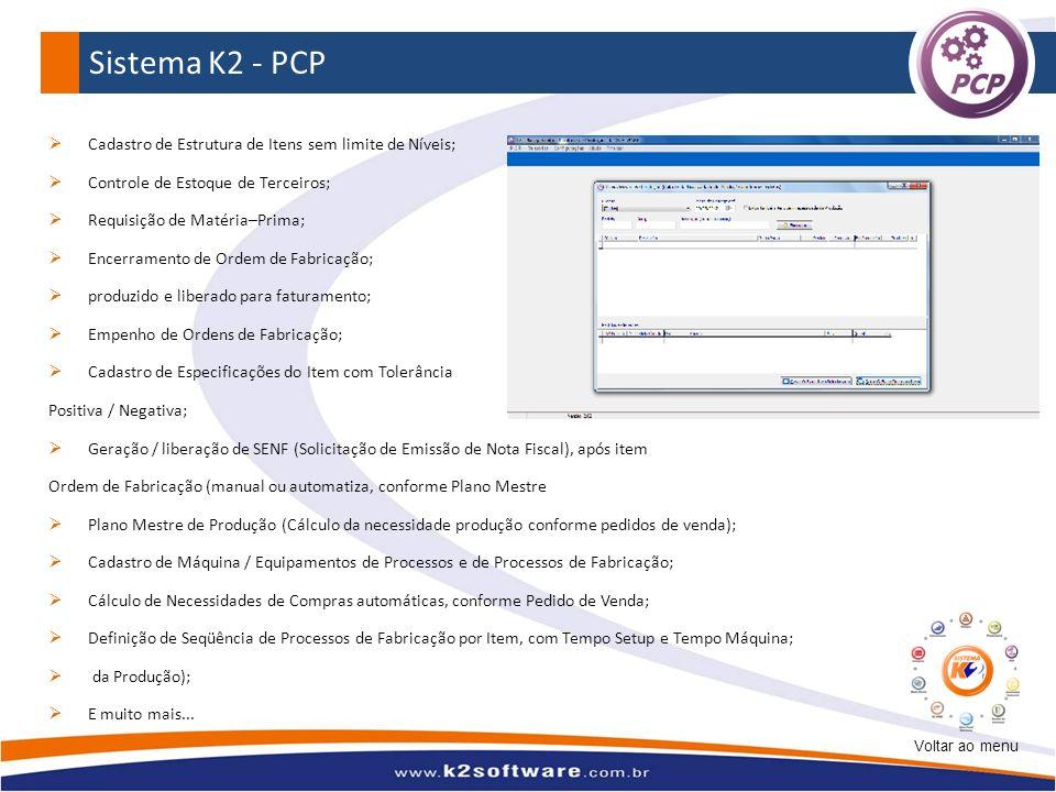 Sistema K2 - PCP Cadastro de Estrutura de Itens sem limite de Níveis;