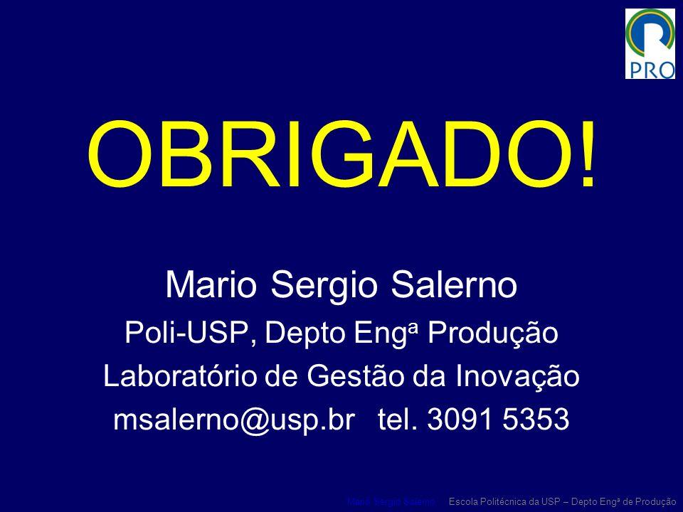 OBRIGADO! Mario Sergio Salerno Poli-USP, Depto Enga Produção