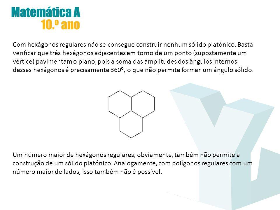 Com hexágonos regulares não se consegue construir nenhum sólido platónico. Basta verificar que três hexágonos adjacentes em torno de um ponto (supostamente um vértice) pavimentam o plano, pois a soma das amplitudes dos ângulos internos desses hexágonos é precisamente 360º, o que não permite formar um ângulo sólido.