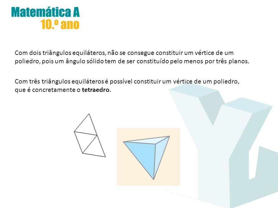 Com dois triângulos equiláteros, não se consegue constituir um vértice de um poliedro, pois um ângulo sólido tem de ser constituído pelo menos por três planos.