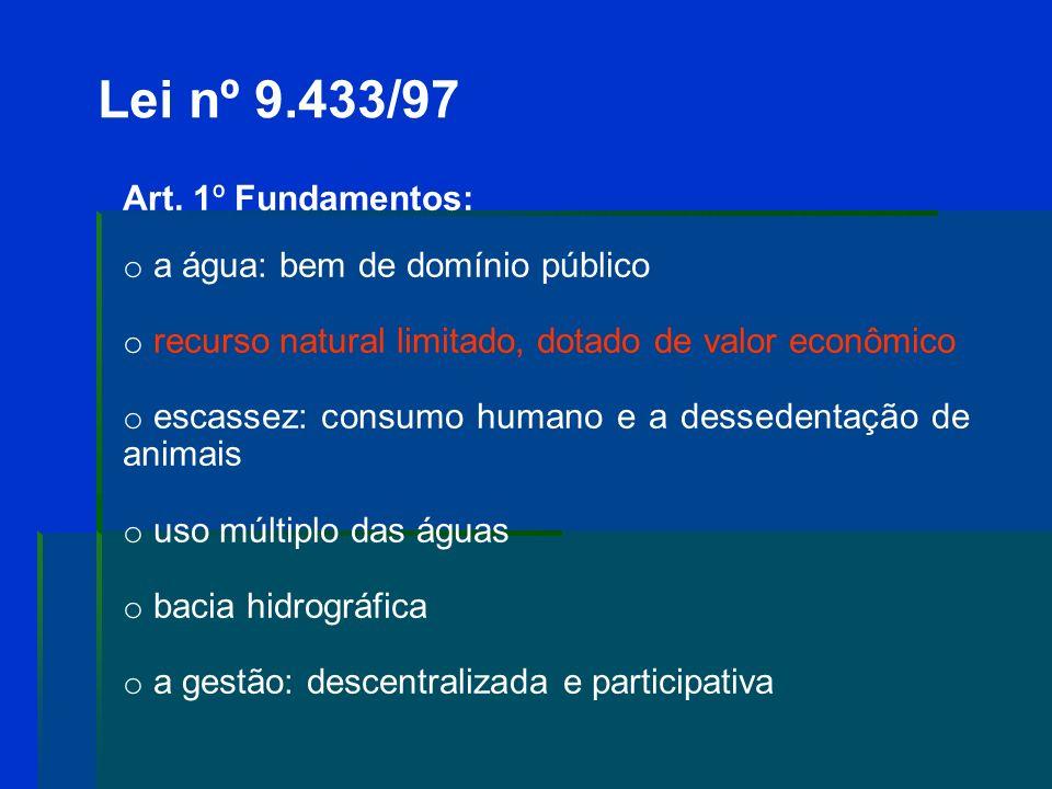 Lei nº 9.433/97 Art. 1º Fundamentos: a água: bem de domínio público