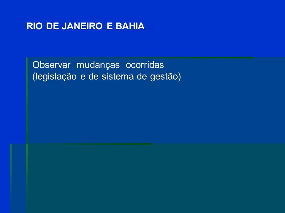RIO DE JANEIRO E BAHIA Observar mudanças ocorridas (legislação e de sistema de gestão)