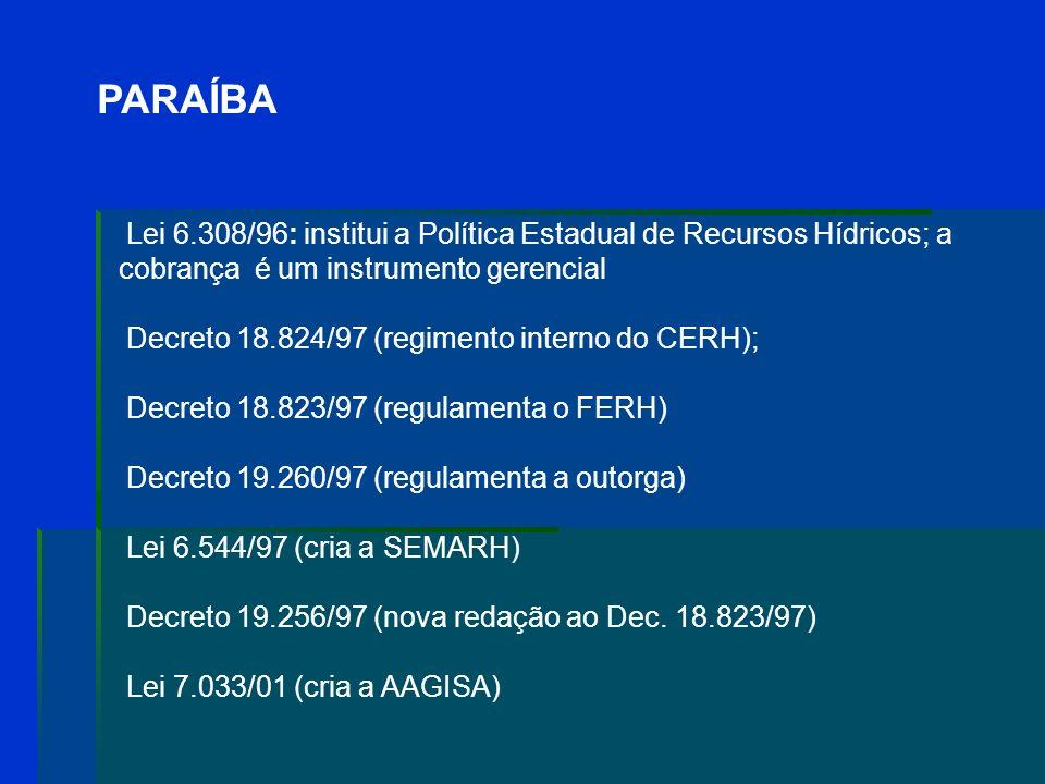 PARAÍBA Decreto 18.824/97 (regimento interno do CERH);