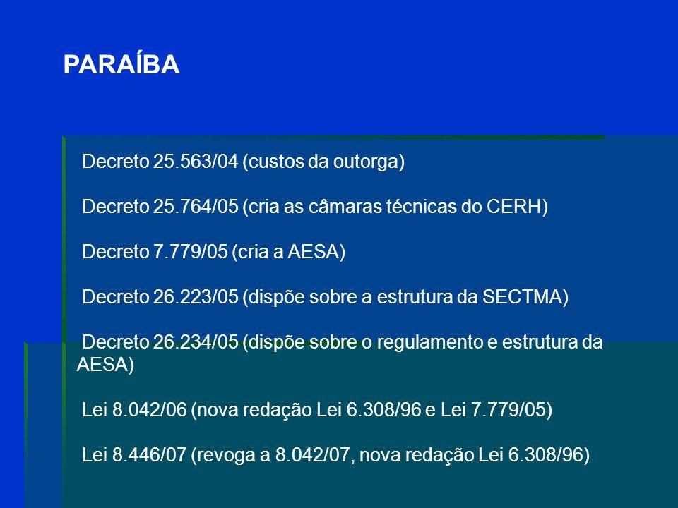 PARAÍBA Decreto 25.764/05 (cria as câmaras técnicas do CERH)