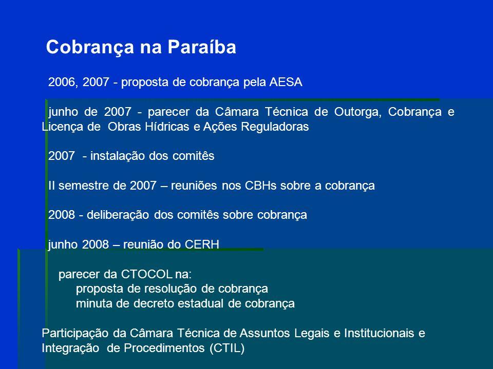 Cobrança na Paraíba 2006, 2007 - proposta de cobrança pela AESA