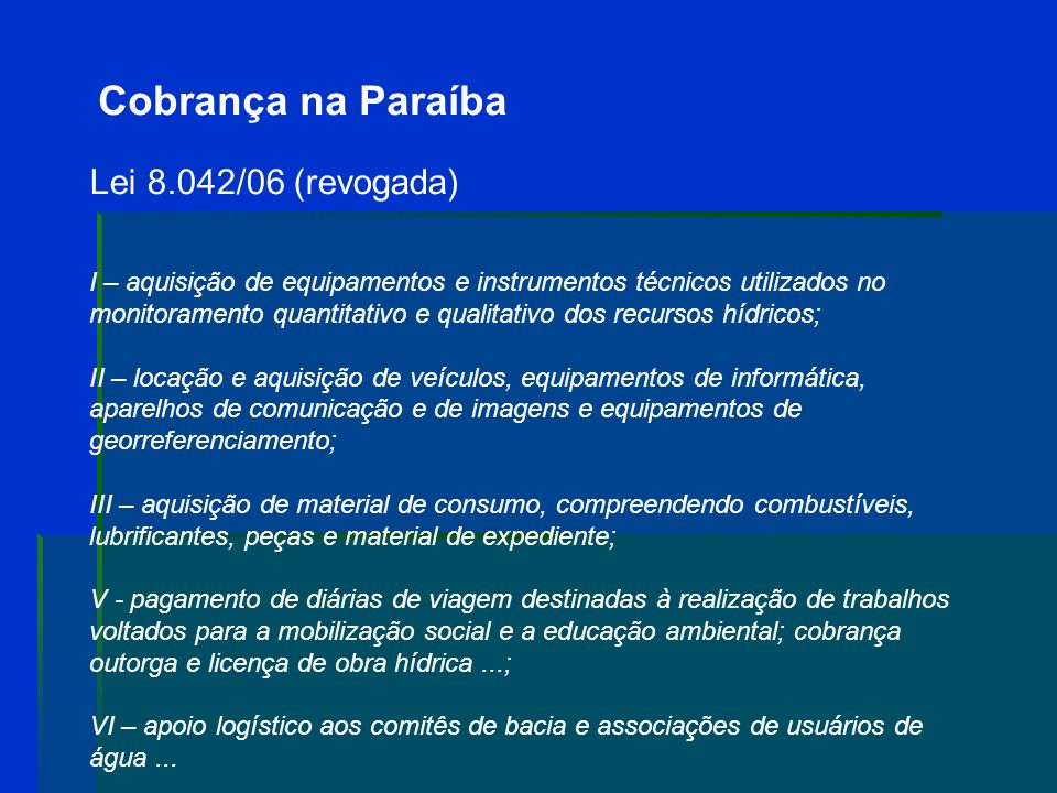 Cobrança na Paraíba Lei 8.042/06 (revogada)