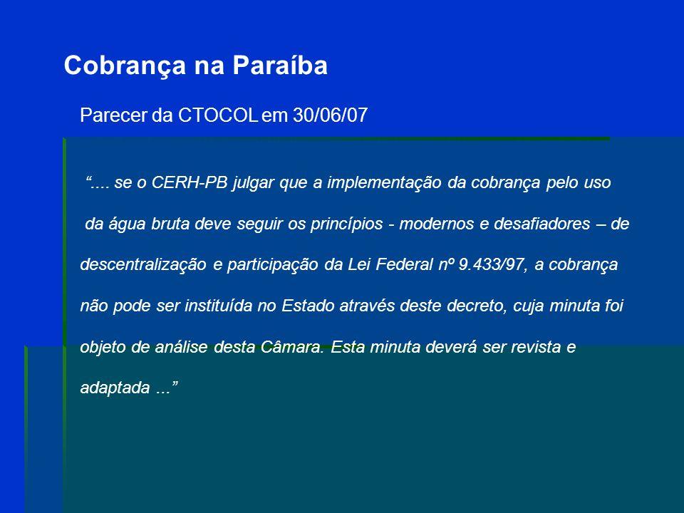 Cobrança na Paraíba Parecer da CTOCOL em 30/06/07