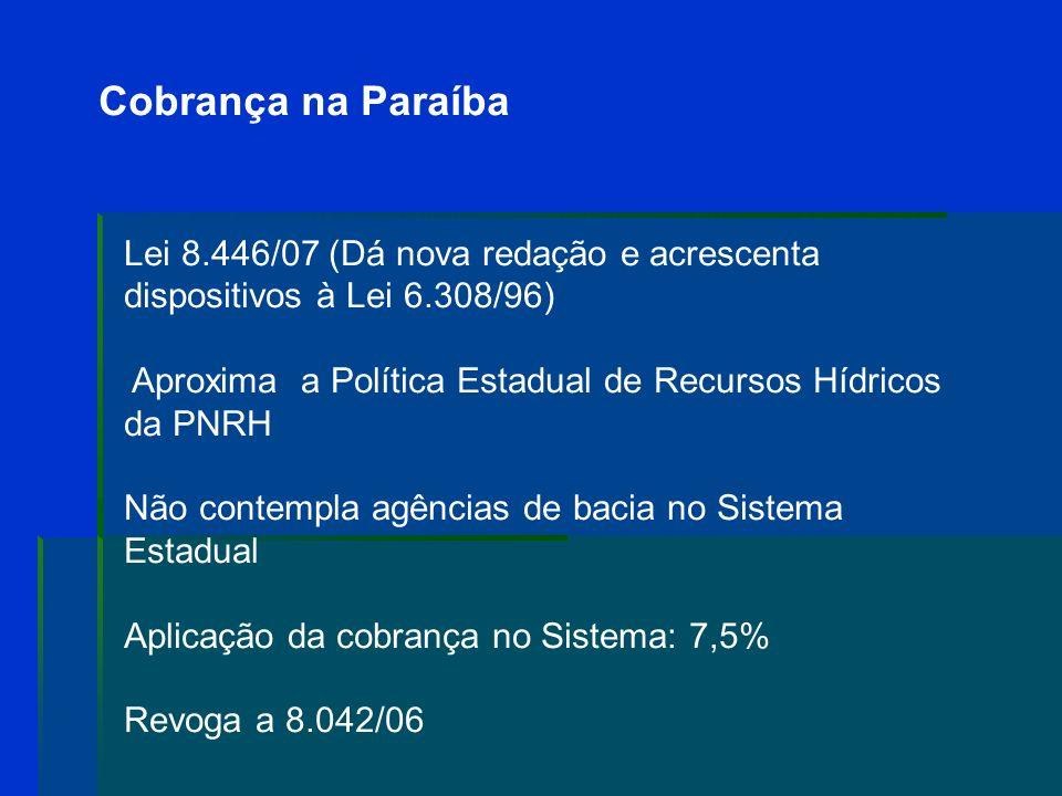 Cobrança na Paraíba Lei 8.446/07 (Dá nova redação e acrescenta dispositivos à Lei 6.308/96)