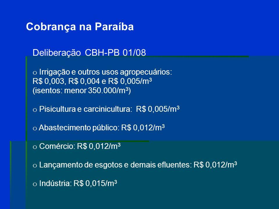 Cobrança na Paraíba Deliberação CBH-PB 01/08