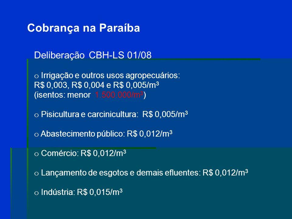 Cobrança na Paraíba Deliberação CBH-LS 01/08