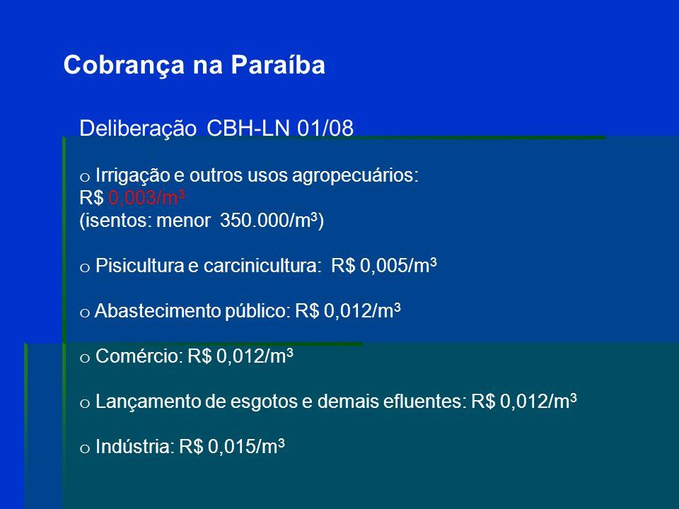 Cobrança na Paraíba Deliberação CBH-LN 01/08