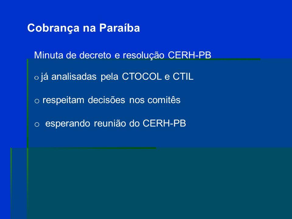 Cobrança na Paraíba Minuta de decreto e resolução CERH-PB