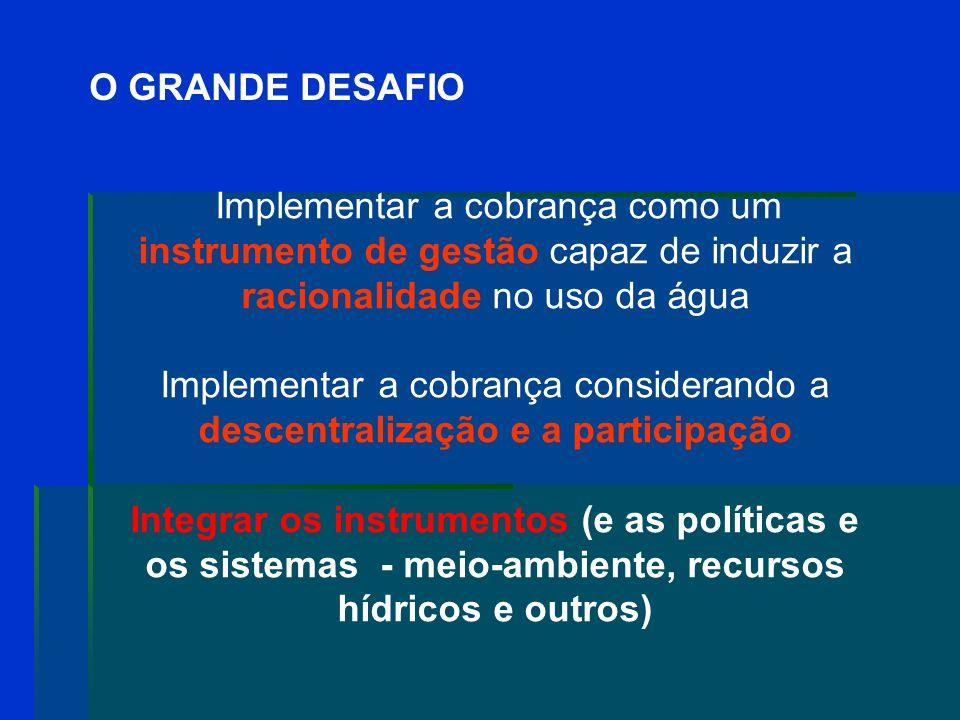 O GRANDE DESAFIO Implementar a cobrança como um instrumento de gestão capaz de induzir a racionalidade no uso da água.