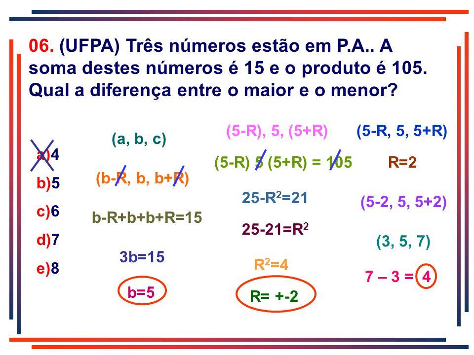 06. (UFPA) Três números estão em P. A