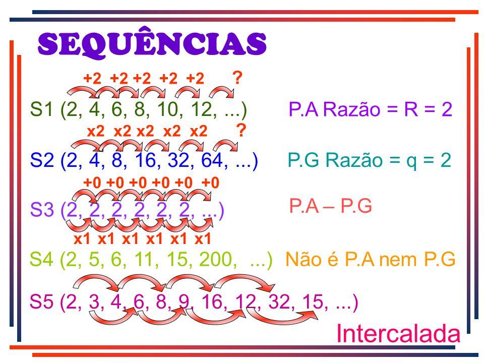 SEQUÊNCIAS Intercalada S1 (2, 4, 6, 8, 10, 12, ...) P.A Razão = R = 2
