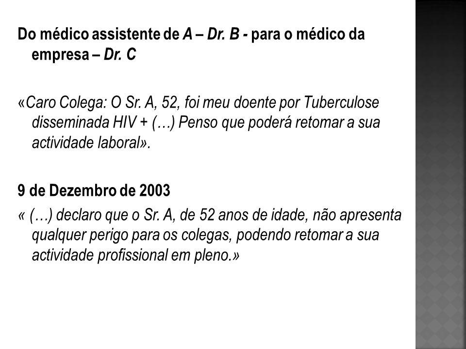 Do médico assistente de A – Dr. B - para o médico da empresa – Dr