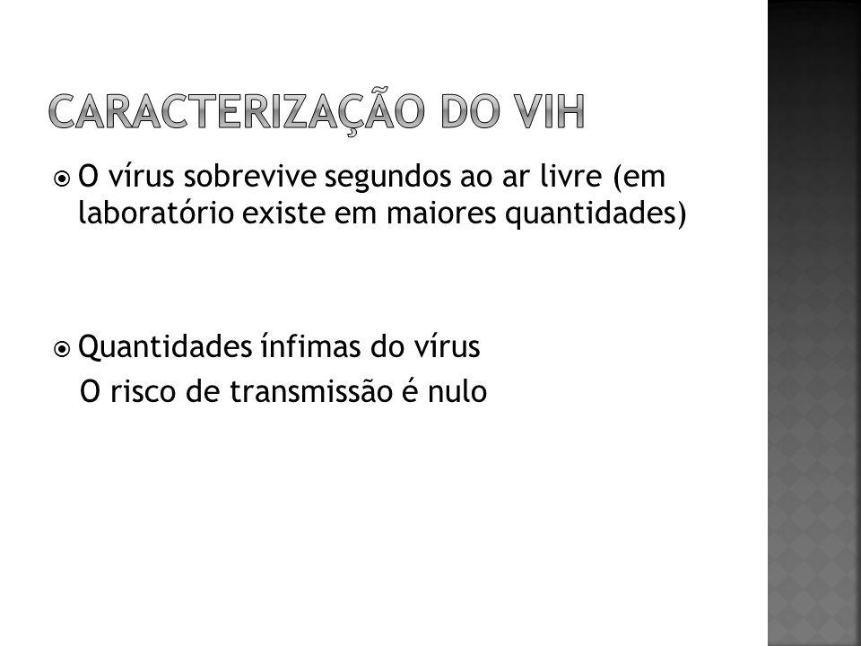 Caracterização do vih O vírus sobrevive segundos ao ar livre (em laboratório existe em maiores quantidades)