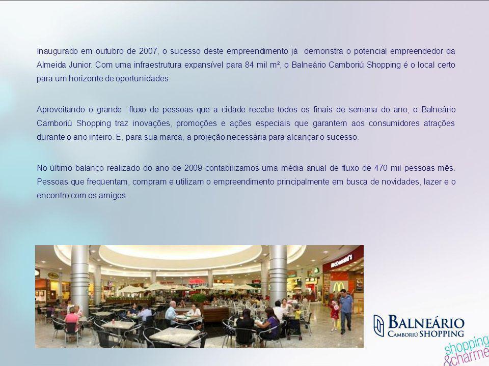 Inaugurado em outubro de 2007, o sucesso deste empreendimento já demonstra o potencial empreendedor da Almeida Junior. Com uma infraestrutura expansível para 84 mil m², o Balneário Camboriú Shopping é o local certo para um horizonte de oportunidades.