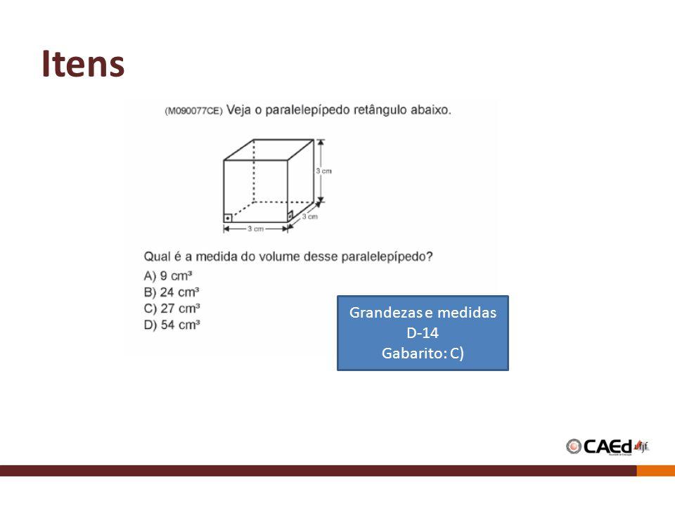 Itens Grandezas e medidas D-14 Gabarito: C)
