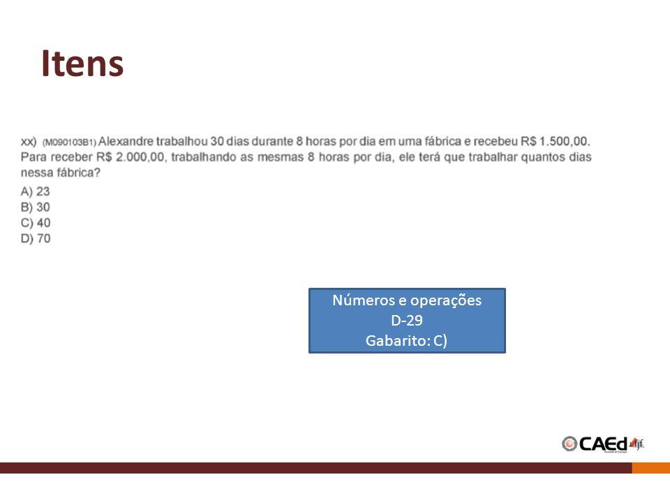Itens Números e operações D-29 Gabarito: C)
