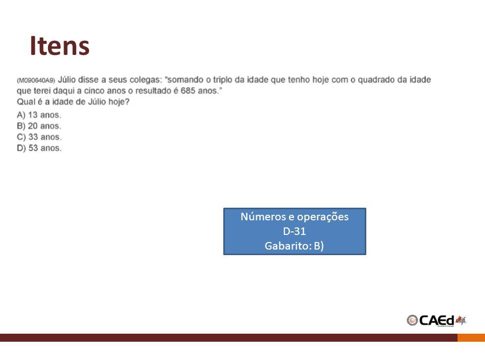 Itens Números e operações D-31 Gabarito: B)