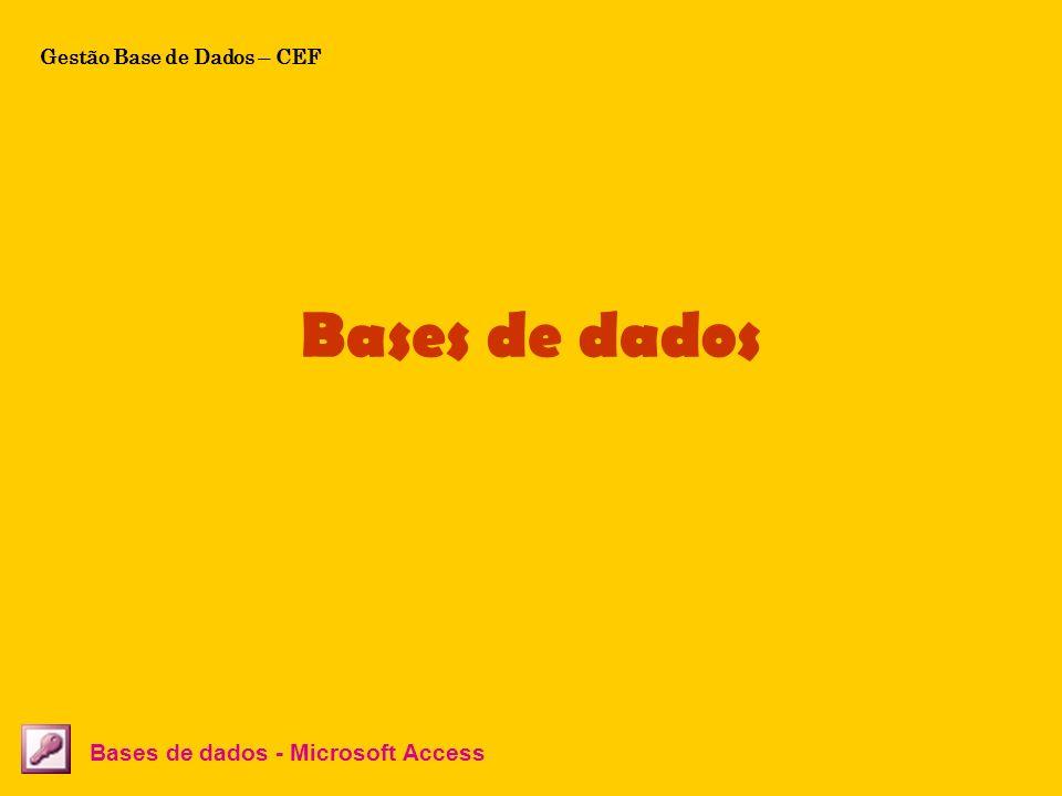 Bases de dados Bases de dados - Microsoft Access