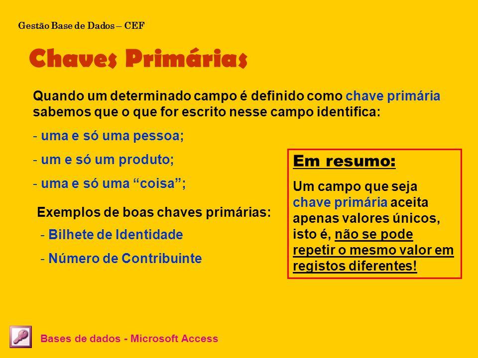 Chaves Primárias Em resumo: