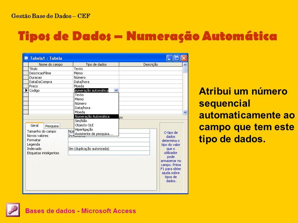 Tipos de Dados – Numeração Automática