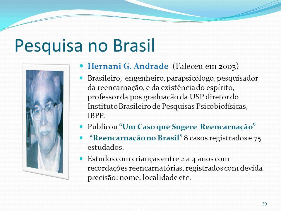 Pesquisa no Brasil Hernani G. Andrade (Faleceu em 2003)
