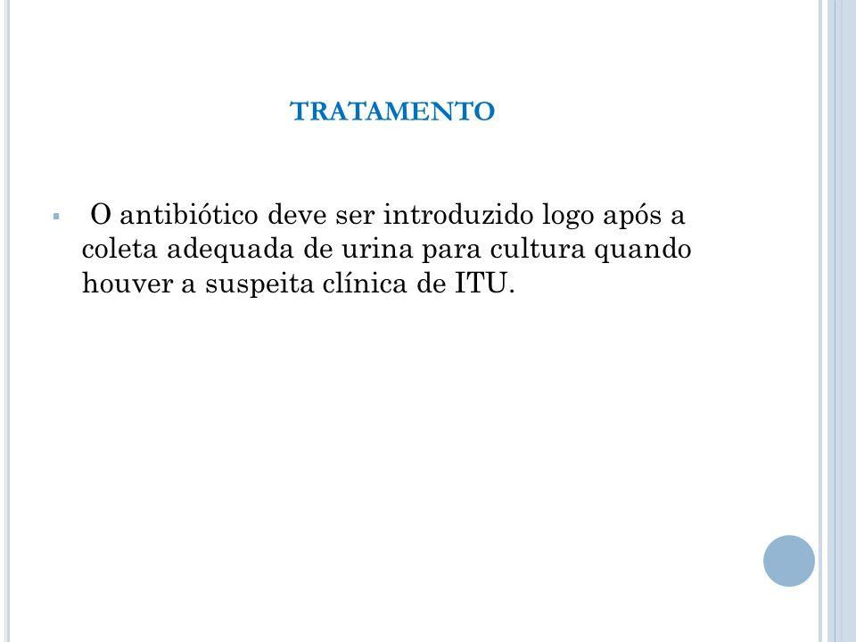 TRATAMENTO O antibiótico deve ser introduzido logo após a coleta adequada de urina para cultura quando houver a suspeita clínica de ITU.