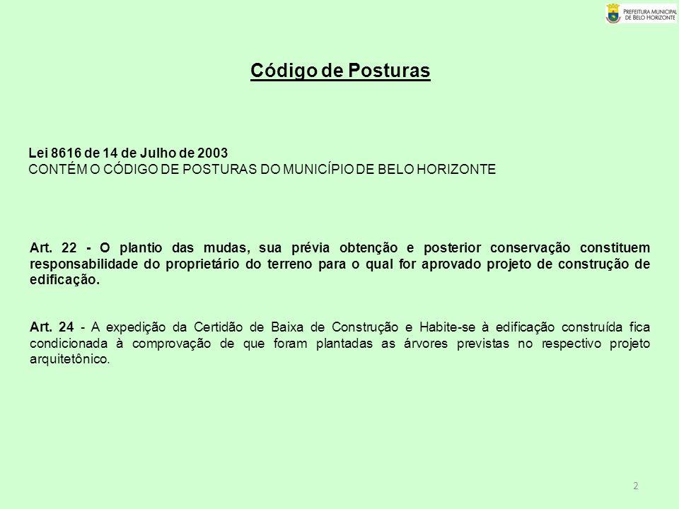Código de Posturas Lei 8616 de 14 de Julho de 2003 CONTÉM O CÓDIGO DE POSTURAS DO MUNICÍPIO DE BELO HORIZONTE.