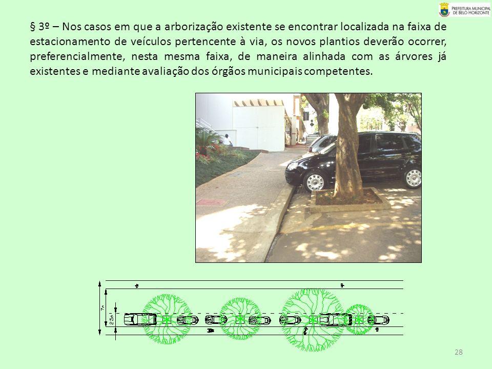 § 3º – Nos casos em que a arborização existente se encontrar localizada na faixa de estacionamento de veículos pertencente à via, os novos plantios deverão ocorrer, preferencialmente, nesta mesma faixa, de maneira alinhada com as árvores já existentes e mediante avaliação dos órgãos municipais competentes.