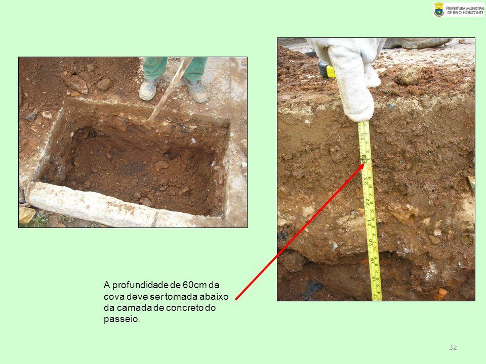 A profundidade de 60cm da cova deve ser tomada abaixo da camada de concreto do passeio.