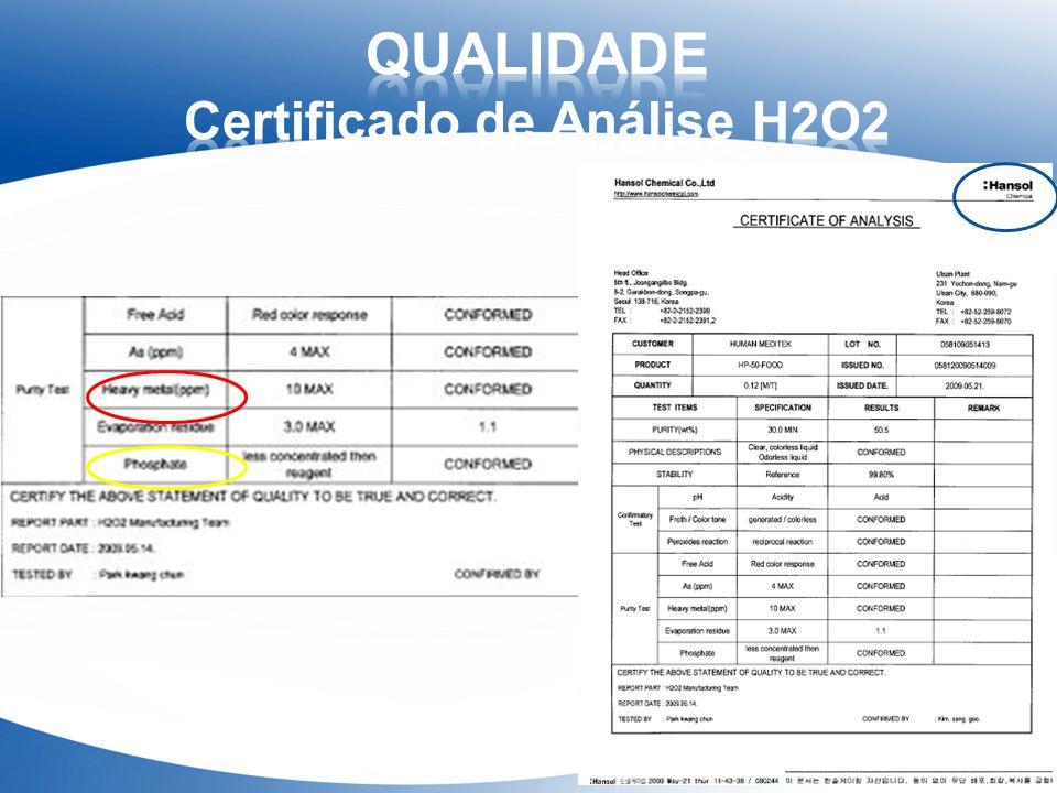 QUALIDADE Certificado de Análise H2O2