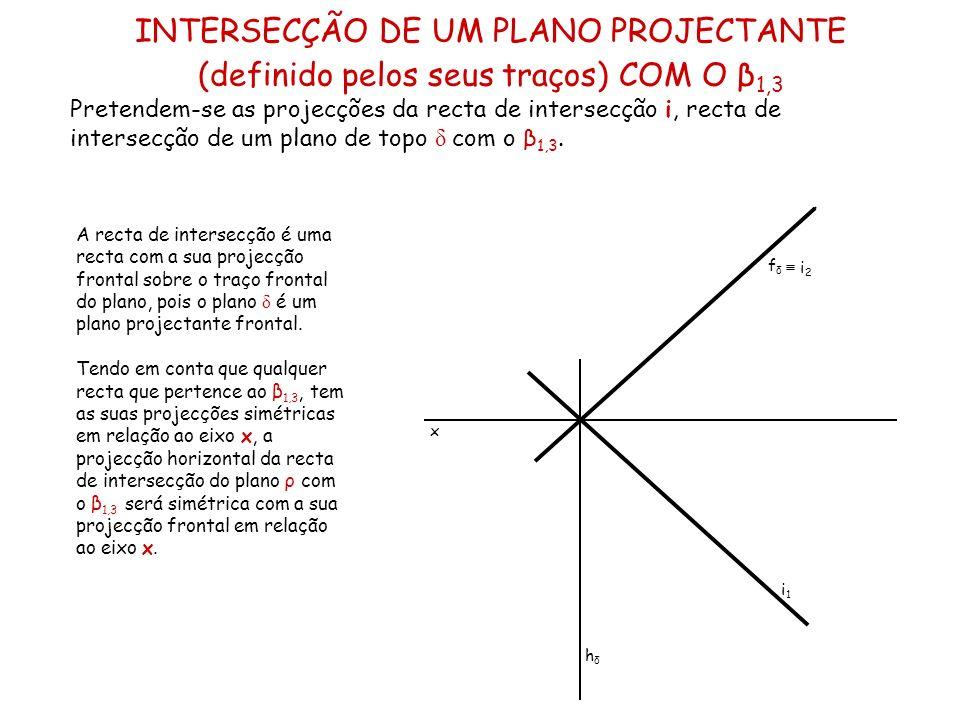 INTERSECÇÃO DE UM PLANO PROJECTANTE (definido pelos seus traços) COM O β1,3