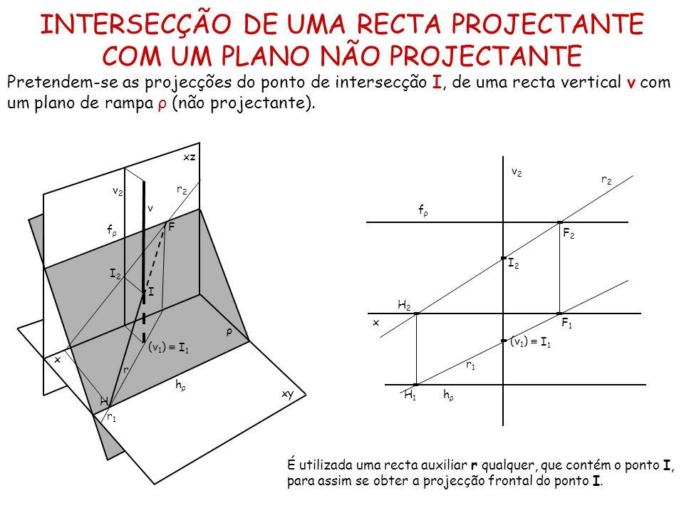 INTERSECÇÃO DE UMA RECTA PROJECTANTE COM UM PLANO NÃO PROJECTANTE