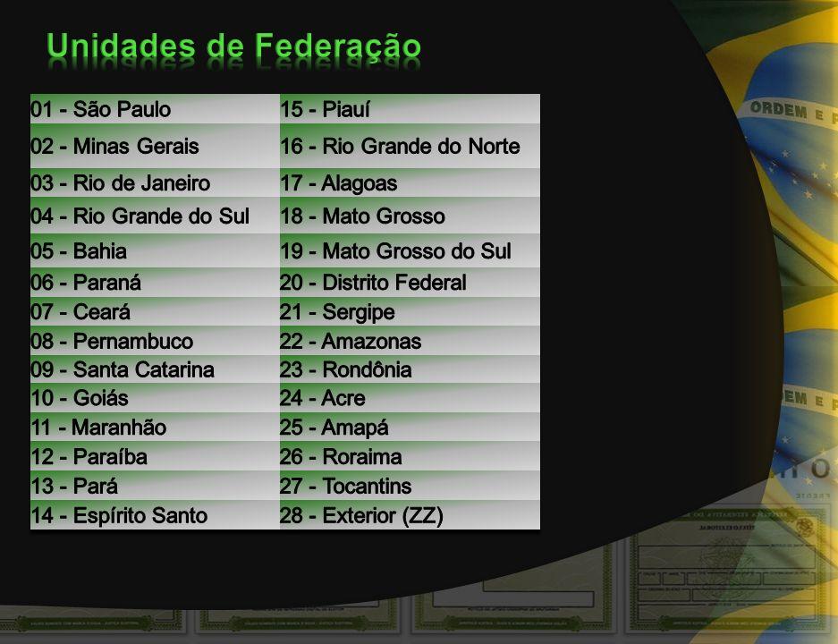 Unidades de Federação 01 - São Paulo 15 - Piauí 02 - Minas Gerais