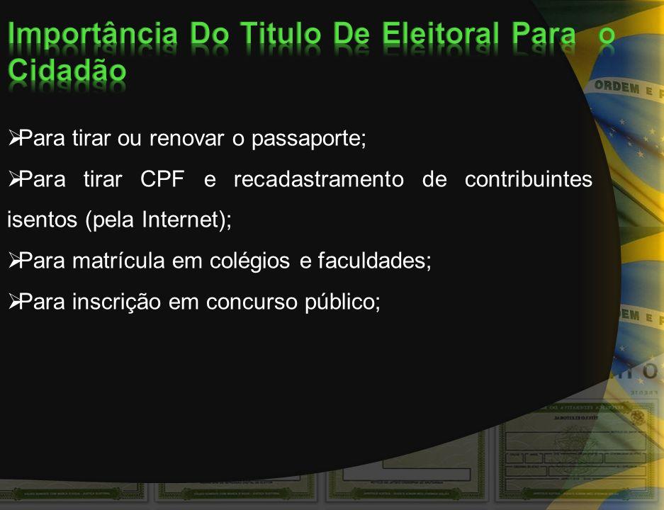 Importância Do Titulo De Eleitoral Para o Cidadão