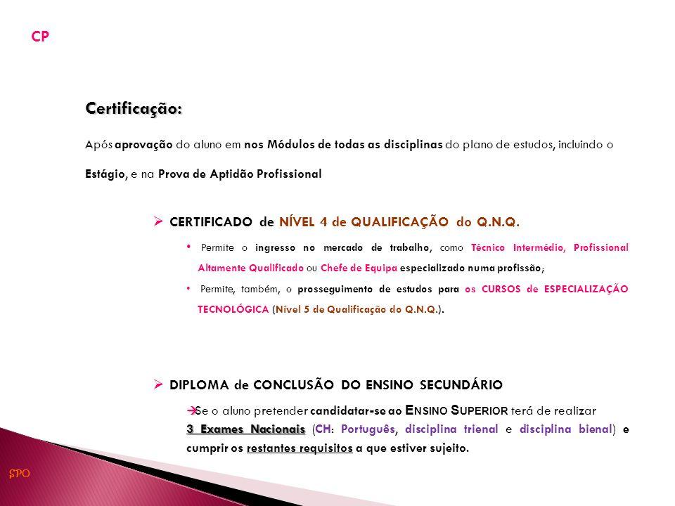 Certificação: CP CERTIFICADO de NÍVEL 4 de QUALIFICAÇÃO do Q.N.Q.