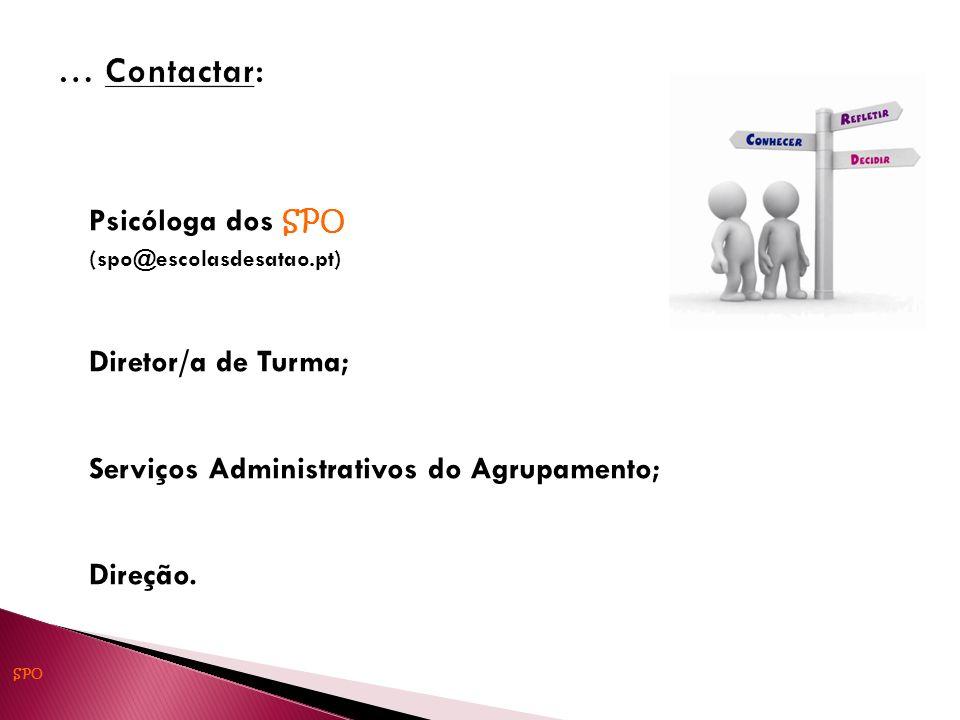 … Contactar: Psicóloga dos SPO Diretor/a de Turma;