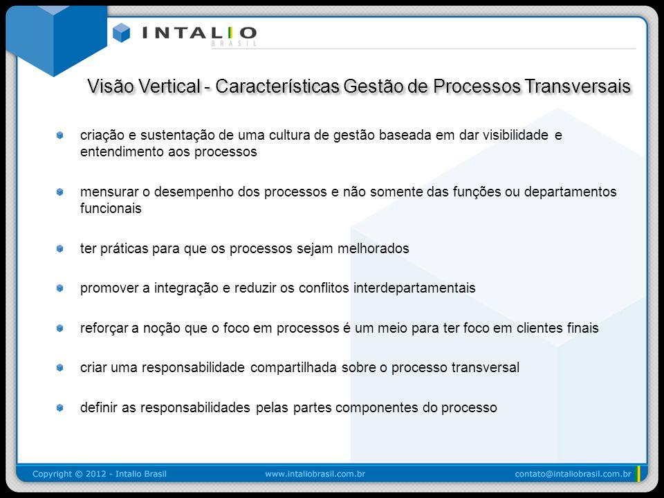 Visão Vertical - Características Gestão de Processos Transversais