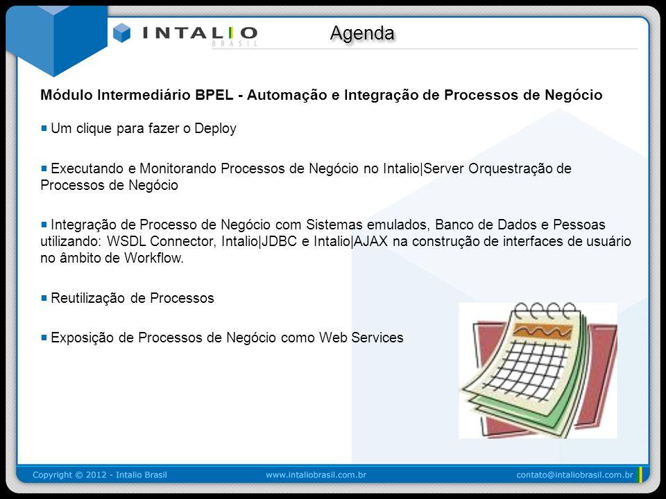 Agenda Módulo Intermediário BPEL - Automação e Integração de Processos de Negócio. Um clique para fazer o Deploy.