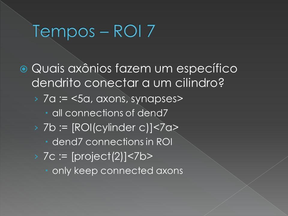 Tempos – ROI 7 Quais axônios fazem um específico dendrito conectar a um cilindro 7a := <5a, axons, synapses>