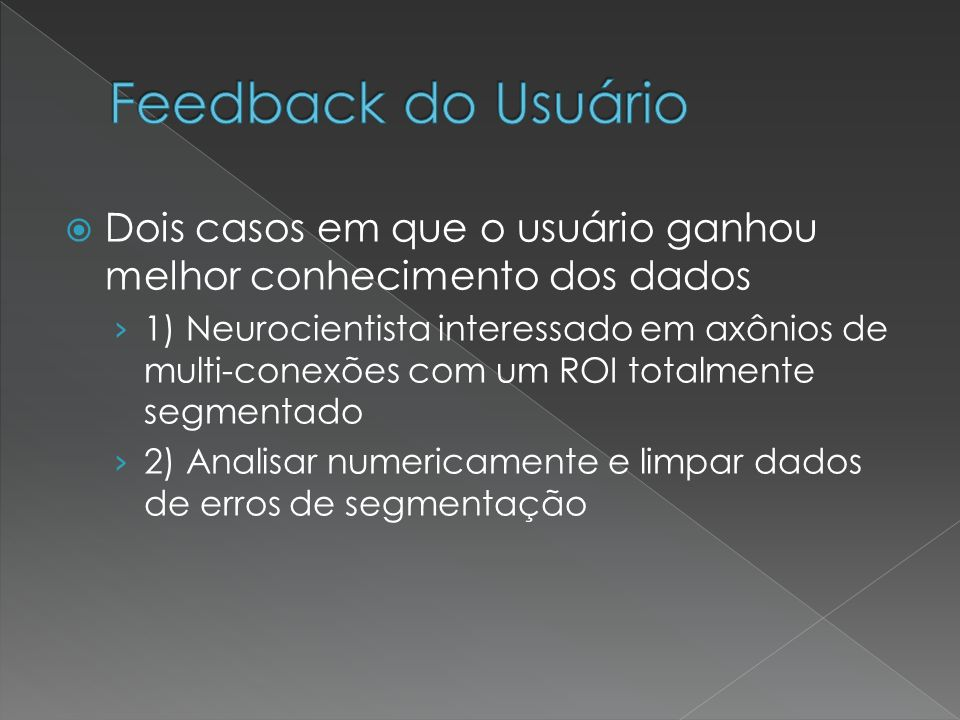 Feedback do Usuário Dois casos em que o usuário ganhou melhor conhecimento dos dados.