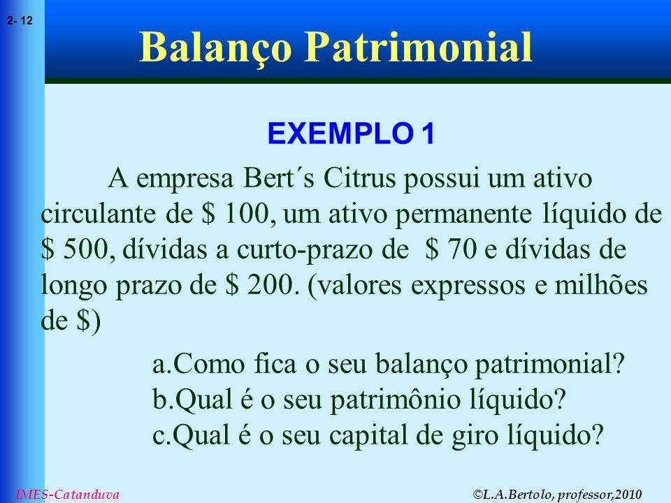 Balanço Patrimonial EXEMPLO 1