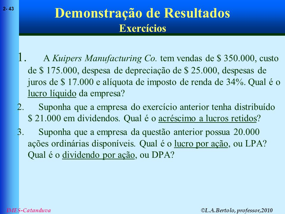 Demonstração de Resultados Exercícios