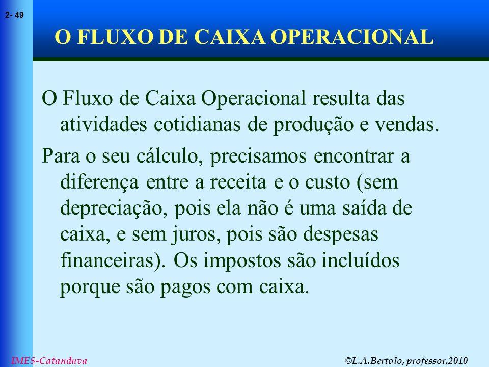 O FLUXO DE CAIXA OPERACIONAL